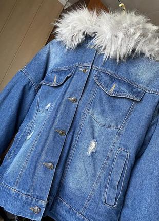 Тёплая джинсовая куртка не меху 💙
