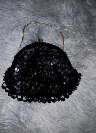 Шикарная винтажная сумочка обшитая бисером 🖤