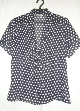 Блуза темно-синяя в горох
