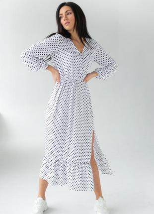 Нежное женственное миди платье в горошек