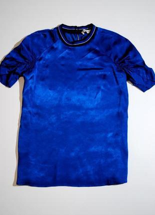 Футболкаженская синяя атласная из атласа бренд zara шикарная испания