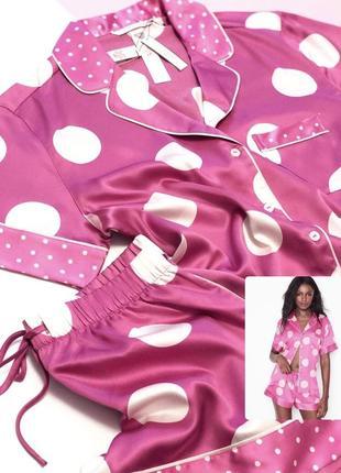 Сатиновая атласная пижама с шортами виктория сикрет оригинал