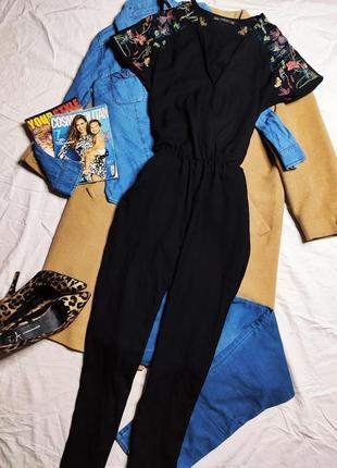 Zara зара комбинезон черный брючный с вышивкой с карманами оверсайз