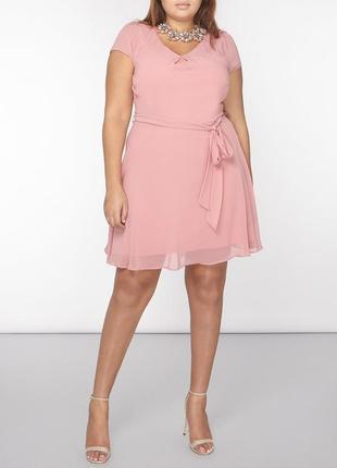 Dorothy perkins платье розовое пудровое с поясом миди большое батальное новое классическое
