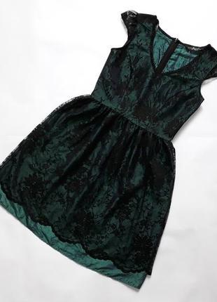 Красивое  вечернее кружевное платье  бирюзового цвета dorothy perkins