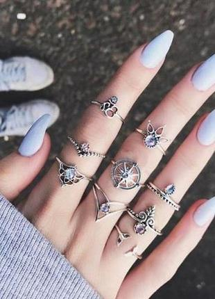 Набор колец в стиле бохо солнце лотос русалка индия цветы ветка листья цвет серебро 9 штук
