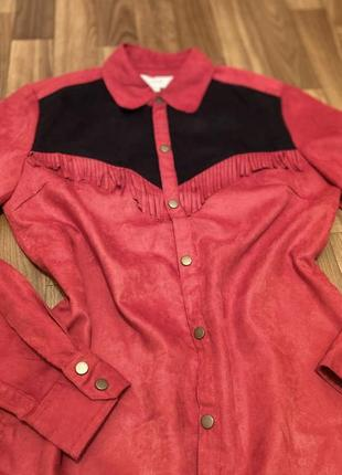 Рубашка, блузка под замш красная с бахромой