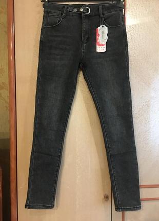 Джинсы флис черно-серые 29 размер (42-44)