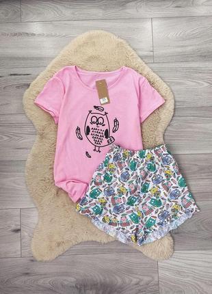 Новая бело-розовая пижама с птичками хлопок шорты футболкв