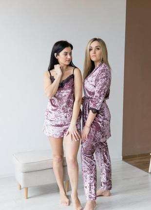 Комплект женский на подарок розовый халат пижама