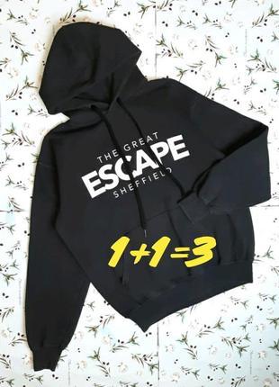 🎁1+1=3 базовое мужское чёрное худи свитер с капюшоном fruit of the loom, размер 44 - 46