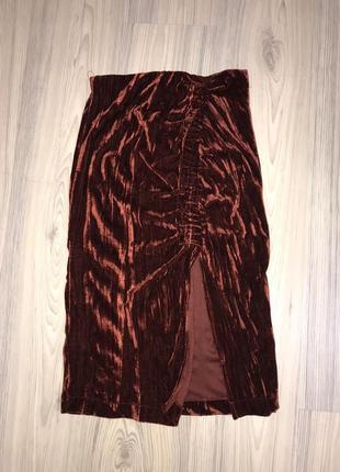 Zara юбка миди с велюра, спідниця міді