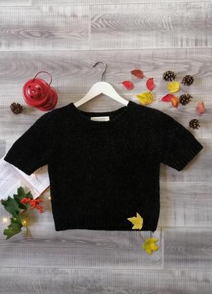 Короткий джемпер теплый кроп топ нарядный вечерний кроп свитер люрекс