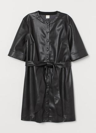 Кожаное платье-рубашка с поясом h&m