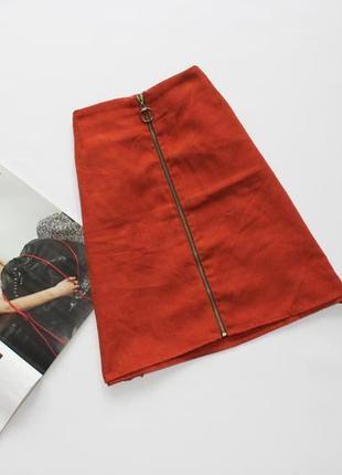 Новая актуальная короткая юбка трапеция со змейкой