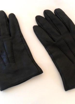 Черные, мужские, кожаные перчатки thinsulate