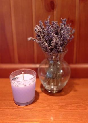 Лавандовая ароматическая свеча. сбелано своими руками.