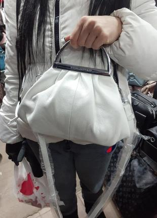 ⚪сумка сумочка белая  кожаная