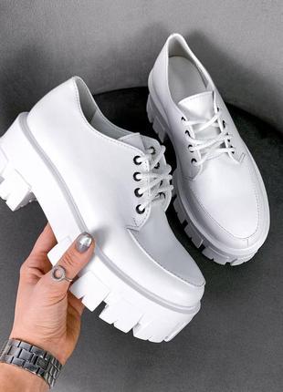 Шкіряні туфлі, кожаные туфли на платформе, туфли