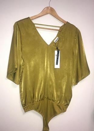 Шелковый нарядный боди блуза горчичного цвета