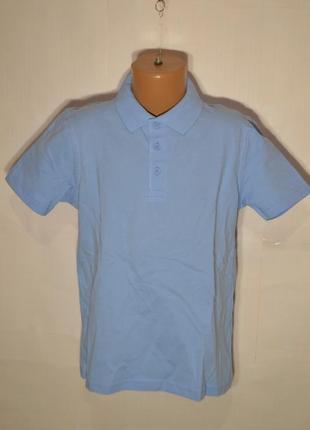 Поло футболка для мальчика школа 7-8/9-10/15-16 лет хлопок голубой george