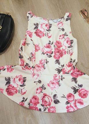 Блуза с баской в цветочный принт