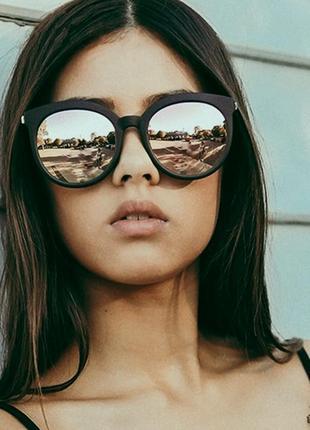 Тренд 2021 зеркальные солнцезащитные очки большие окуляри чорні