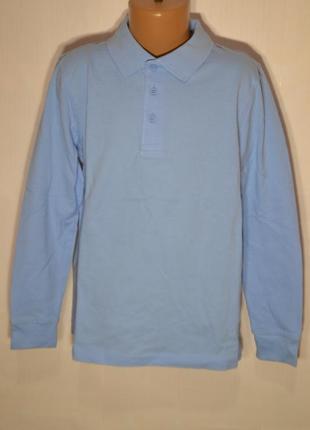Поло длинный рукав футболка для мальчика школа 3-4 года хлопок голубой george