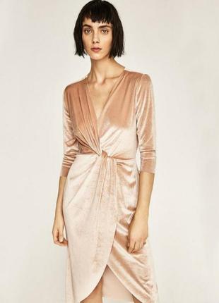 Zara! роскошное бежевое бархатное платье zara