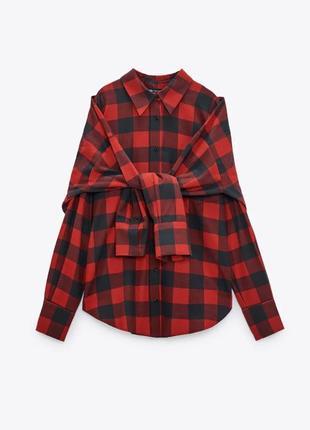 Стильная тёплая рубашка 2в1 в клетку баевая фланелевая