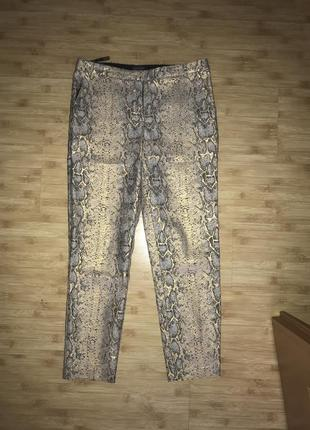 Нарядные брюки штаны. высокая посадка принт питона