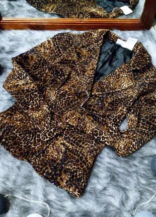 Трендовый вельветовый жакет пиджак с леопардовым принтом