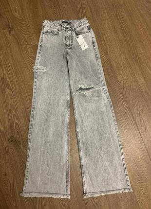 Широкие джинсы варенки, джинсы палаццо, серые широкие джинсы