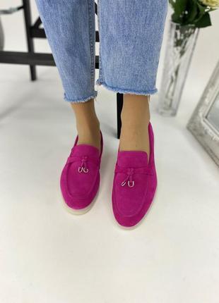 Розовые фуксия туфли - лоферы из замши