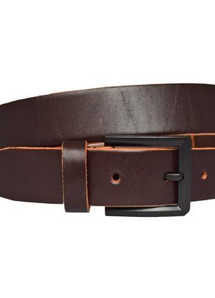 Ремень кожаный мужской брючный коричневый классический classic33k