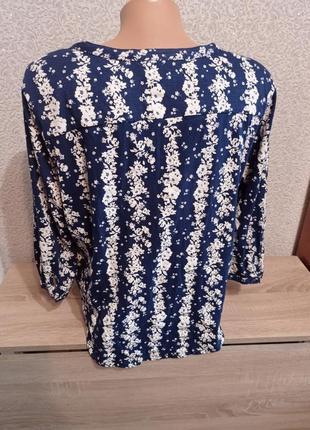 Кофточка 3/4 рукав в цветочный принт 14р футболка пуловер3 фото