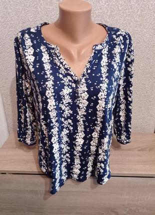 Кофточка 3/4 рукав в цветочный принт 14р футболка пуловер