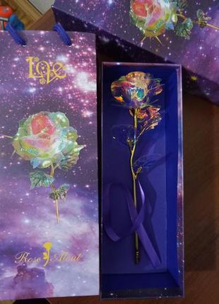 Светящаяся роза 25 см сled подсветкой в подарочной упаковке