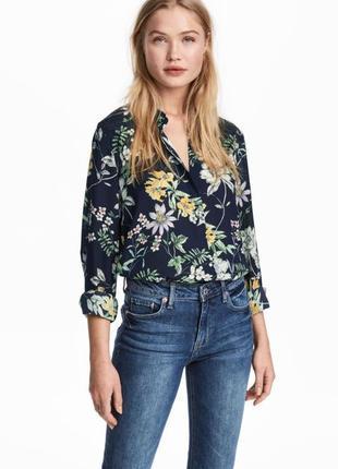 Блузка рубашка сорочка цветочный принт