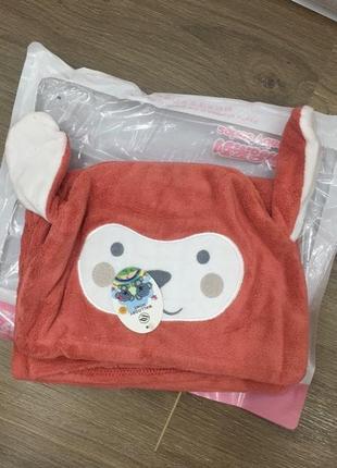 Детское полотенце-плед с капюшоном