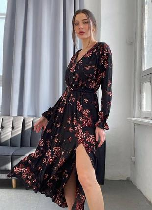 Женское шелковое платье цветочный принт