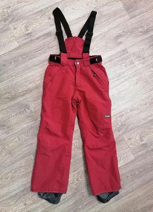 Лыжные термо-штаны на девочку, детские лыжные штаны на подтяжках, лыжный комбинезон
