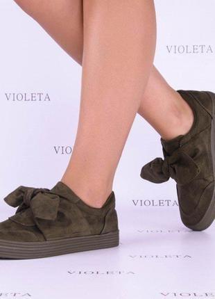 Хаки оливковые кроссовки мокасины слипоны туфли бант