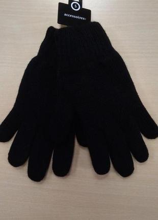Перчатки, мужские, теплые, шерстяные, вязаные, двойные, черные, c&a, s
