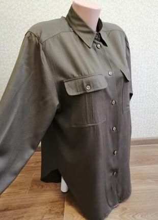 Бредовая рубашка оверсайз цвета хаки р.10