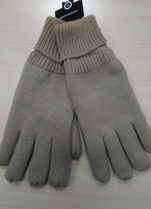 Перчатки, мужские, теплые, вязанные, двойные, на флисе, c&a, l, xl