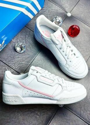 Adidas оригинал белые кожаные кроссовки с розовыми элементами continental 80