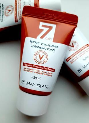 Очищающая пенка may island 7 days secret vita plus-10 cleansing foam 30ml