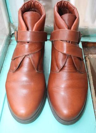 Стильные рыже-коричневые кожаные ботинки с утеплением