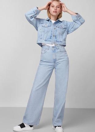 Стильный укороченный пиджак джинсовка topshop